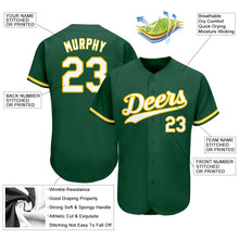 Load image into Gallery viewer, Custom Kelly Green White-Gold Authentic Baseball Jersey