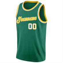 Load image into Gallery viewer, Custom Kelly Green White-Gold Round Neck Rib-Knit Basketball Jersey