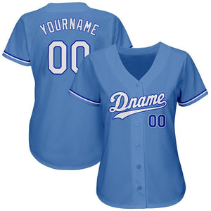 Custom Light Blue White-Royal Authentic Baseball Jersey