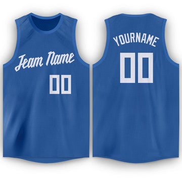 Custom Blue White Round Neck Basketball Jersey