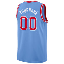 Load image into Gallery viewer, Custom Light Blue Red-White Round Neck Rib-Knit Basketball Jersey