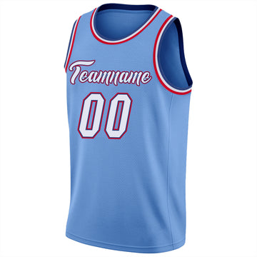 Custom Light Blue White-Red Round Neck Rib-Knit Basketball Jersey