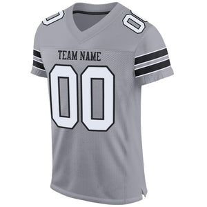 Custom Light Gray White-Black Mesh Authentic Football Jersey