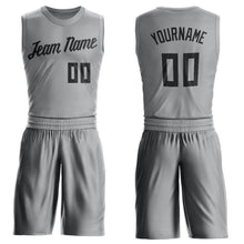 Load image into Gallery viewer, Custom Silver Gray Black Round Neck Suit Basketball Jersey
