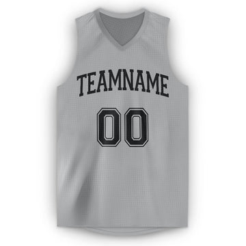 Custom Gray Black V-Neck Basketball Jersey