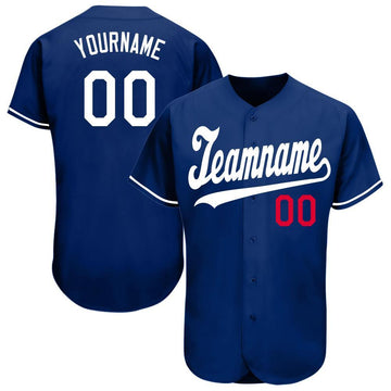Custom Royal White-Red Baseball Jersey