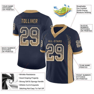 Custom Navy Old Gold-White Mesh Drift Fashion Football Jersey