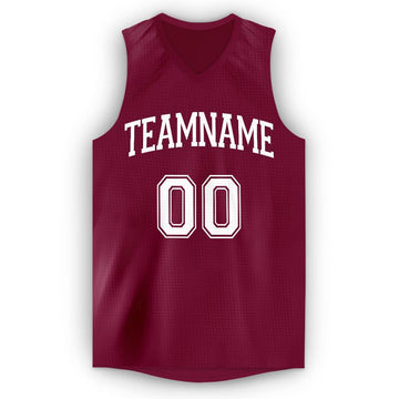 Custom Maroon White V-Neck Basketball Jersey