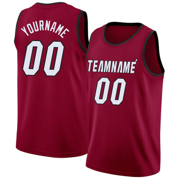 Custom Maroon White-Black Round Neck Rib-Knit Basketball Jersey
