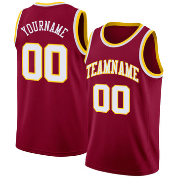 Custom Maroon White-Gold Round Neck Rib-Knit Basketball Jersey
