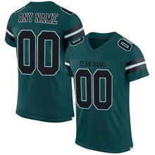 Load image into Gallery viewer, Custom Midnight Green Black-White Mesh Authentic Football Jersey