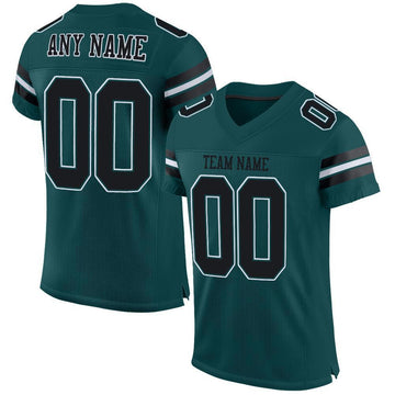 Custom Midnight Green Black-White Mesh Authentic Football Jersey