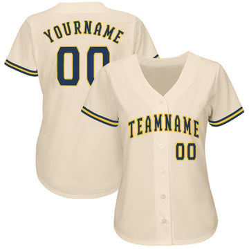 Custom Cream Navy-Gold Baseball Jersey