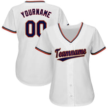 Load image into Gallery viewer, Custom White Navy-Red Baseball Jersey