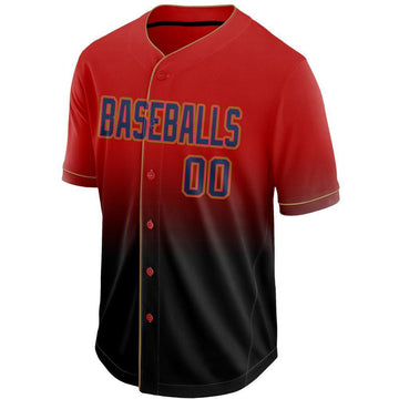 Custom Red Navy-Black Fade Baseball Jersey