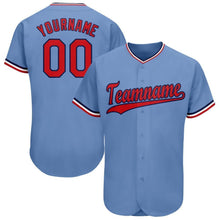 Load image into Gallery viewer, Custom Light Blue Red-Navy Baseball Jersey