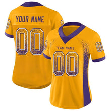 Load image into Gallery viewer, Custom Gold Purple-White Mesh Drift Fashion Football Jersey