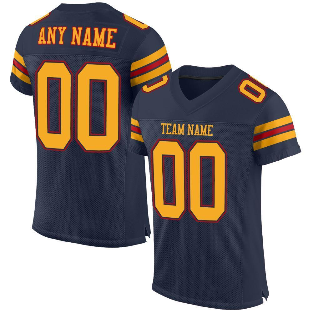 Custom Navy Gold-Red Mesh Authentic Football Jersey