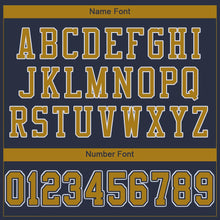 Load image into Gallery viewer, Custom Navy Old Gold-White Mesh Authentic Football Jersey