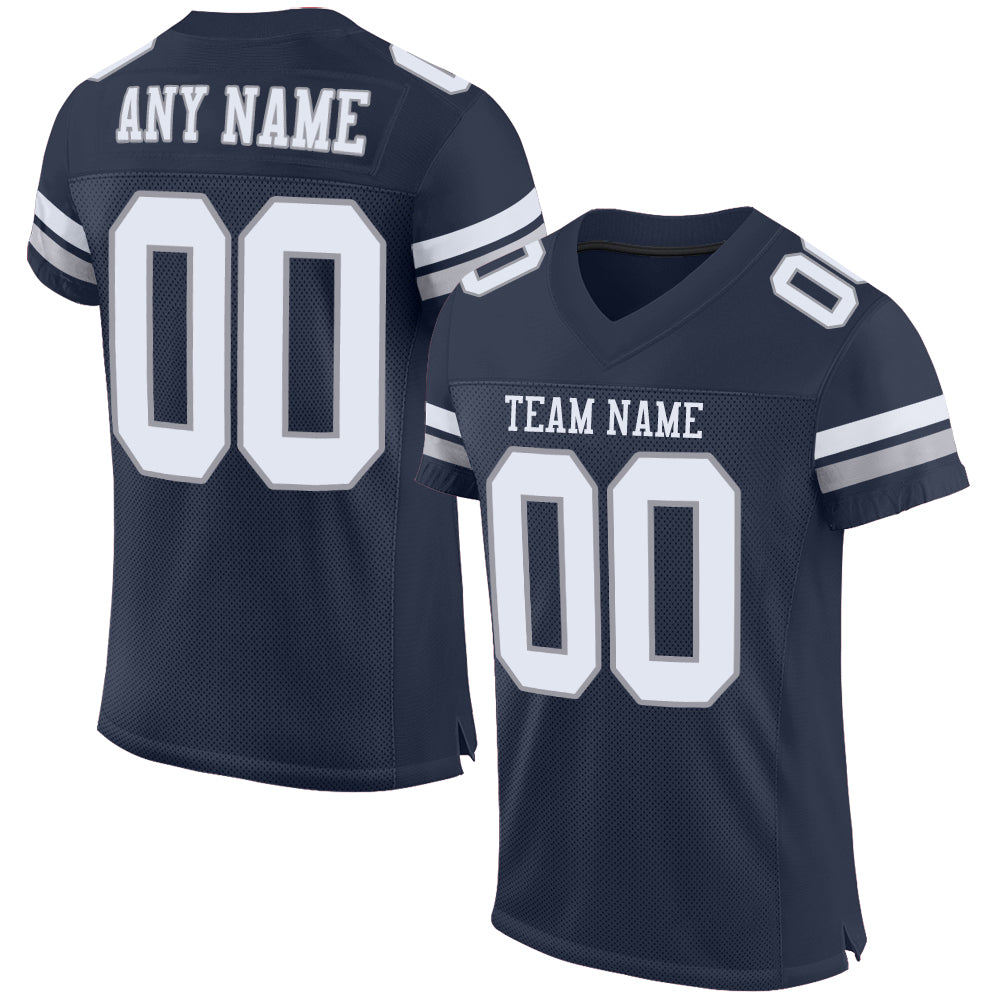 Custom Navy White-Light Gray Mesh Authentic Football Jersey