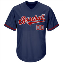 Load image into Gallery viewer, Custom Navy Red-White Authentic Throwback Rib-Knit Baseball Jersey Shirt