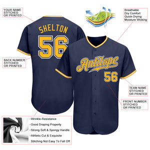 Custom Navy Gold-White Authentic Baseball Jersey
