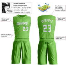 Load image into Gallery viewer, Custom Neon Green White Round Neck Suit Basketball Jersey