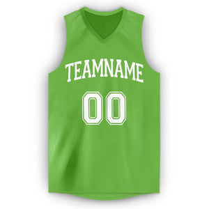 Custom Neon Green White V-Neck Basketball Jersey