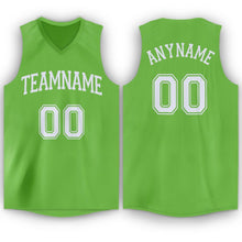 Load image into Gallery viewer, Custom Neon Green White V-Neck Basketball Jersey