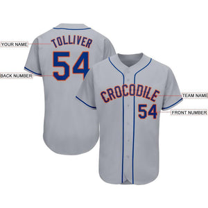 Custom Gray Royal-Orange Baseball Jersey