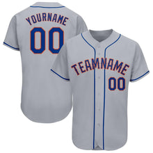 Load image into Gallery viewer, Custom Gray Royal-Orange Baseball Jersey