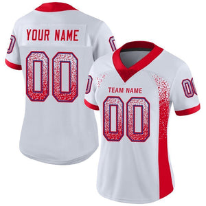Custom White Scarlet-Royal Mesh Drift Fashion Football Jersey