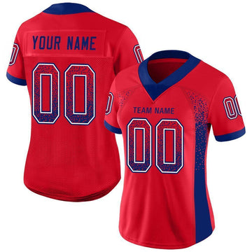 Custom Scarlet Royal-White Mesh Drift Fashion Football Jersey