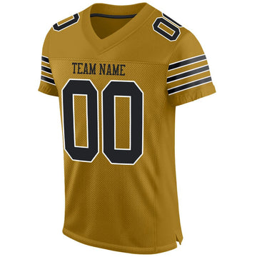 Custom Old Gold Black-White Mesh Authentic Football Jersey
