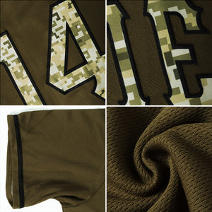 Custom Olive Camo-Khaki Authentic Salute To Service American Flag Fashion Baseball Jersey