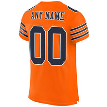 Load image into Gallery viewer, Custom Orange Navy-White Mesh Authentic Football Jersey