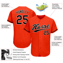 Load image into Gallery viewer, Custom Orange Black-White Authentic Baseball Jersey