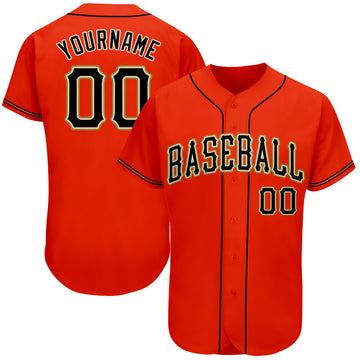 Custom Orange Black-Old Gold Authentic Baseball Jersey