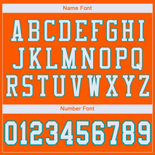 Load image into Gallery viewer, Custom Orange White-Aqua Mesh Authentic Football Jersey