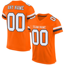 Load image into Gallery viewer, Custom Orange White-Navy Mesh Authentic Football Jersey