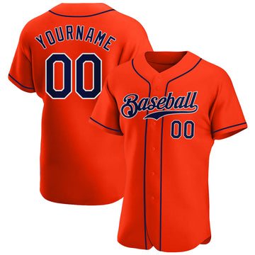 Custom Orange Navy-White Authentic Baseball Jersey