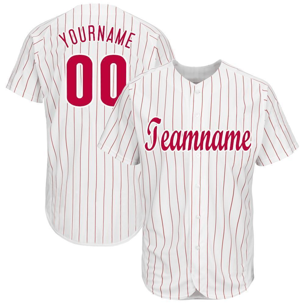 Custom White Red Strip Red-White Baseball Jersey