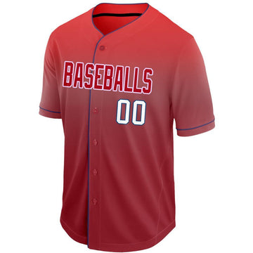 Custom Red White-Navy Fade Baseball Jersey