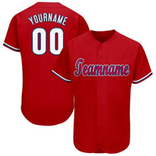 Load image into Gallery viewer, Custom Red White-Royal Baseball Jersey