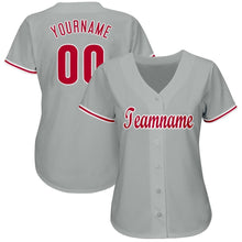 Load image into Gallery viewer, Custom Gray Red-White Baseball Jersey
