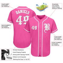 Load image into Gallery viewer, Custom Pink White-Gray Authentic Baseball Jersey