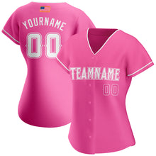 Load image into Gallery viewer, Custom Pink White Authentic American Flag Fashion Baseball Jersey