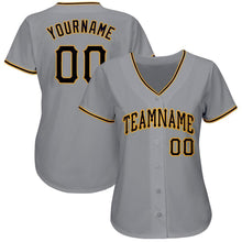 Load image into Gallery viewer, Custom Gray Black-Gold Baseball Jersey