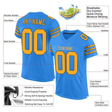 Load image into Gallery viewer, Custom Powder Blue Gold-Navy Mesh Authentic Football Jersey