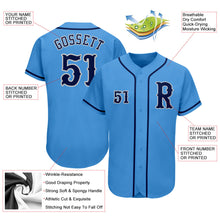 Load image into Gallery viewer, Custom Powder Blue Navy-Gray Authentic Baseball Jersey